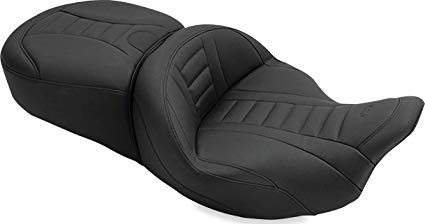 Mustang 79006 Super Touring Deluxe One-Piece 2-Up Motorcycle Seat for Harley-Davidson FL Touring 2008-19, Black
