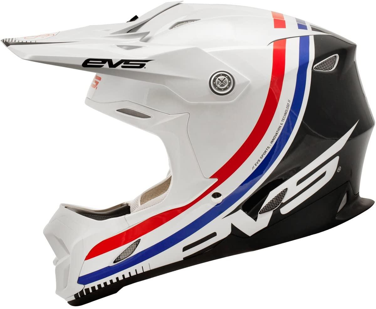 EVS T7 GT Adult Dirt Bike Motorcycle Helmet - Black/White/ROY