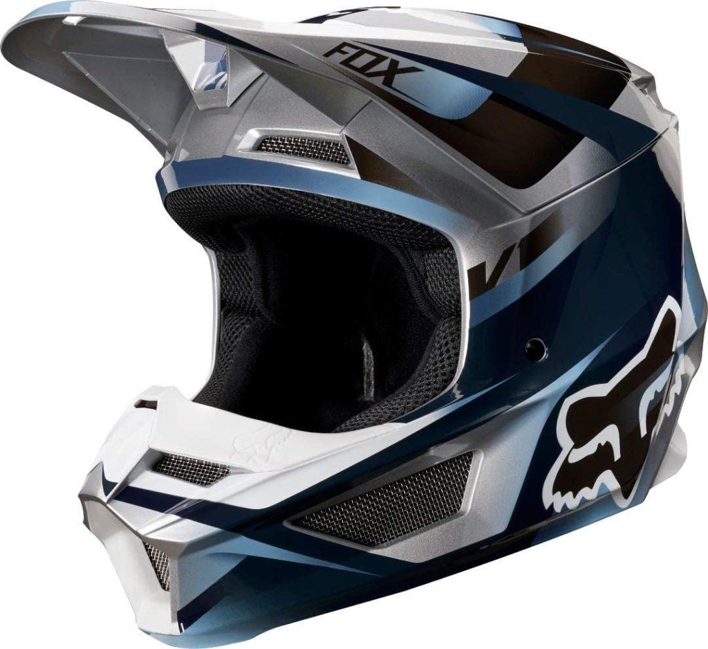 Fox Racing V1 Motif Men's Off-Road Motorcycle Helmet - Blue/Gray / 2X-Large