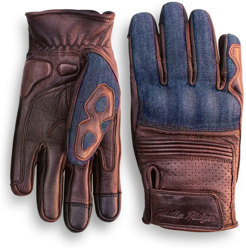 Denim and Leather Motorcycle Gloves