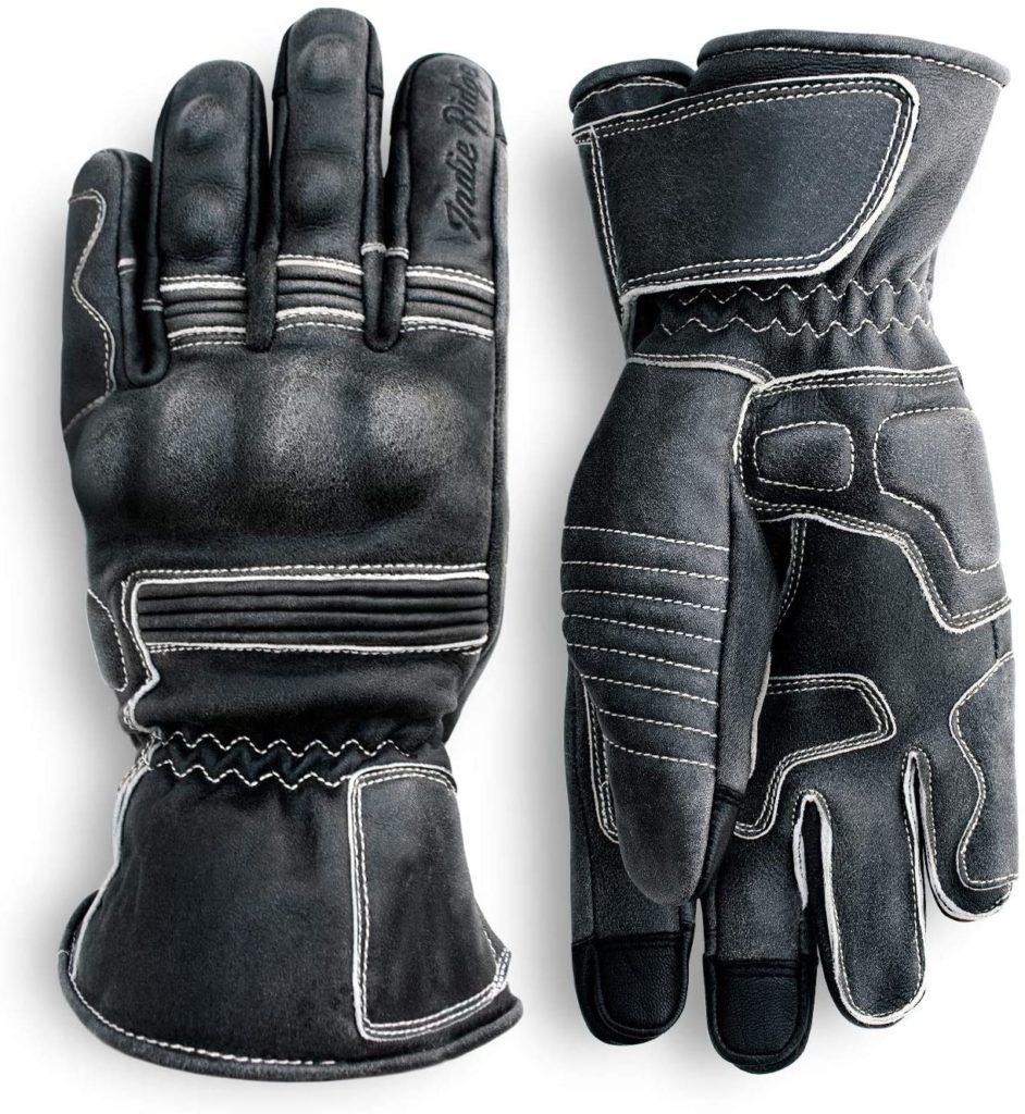 Indie Ridge Pre-Weathered Leather Motorcycle Racing Gloves