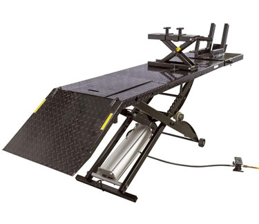 Black Widow BW-1000A-XL Extra-Long Motorcycle Lift Table with Center Jack